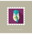 Turkey flat stamp Animal head vector image