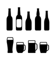 beer bottle and mug set vector image