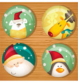 Cute Christmas badges vector image