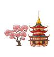 blooming sakura branch pagoda set vector image