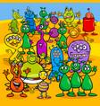 Cartoon aliens fantasy characters group vector image