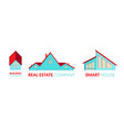 paper cut out logo set with private houses vector image