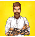 pop art of a brutal bearded vector image