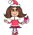 snowflake or santa girl cartoon vector image