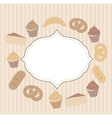 Card with cupcakes and other sweet food vector image vector image