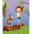 A girl and a monkey in the forest vector image vector image