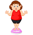 Fat woman cartoon very worried with her weight vector image