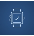 Smartwatch with check sign line icon vector image