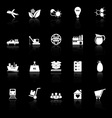 Supply chain and logistic icons with reflect on vector image