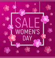womens day frame sale background - paper flowers vector image