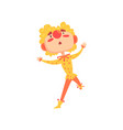 funny clown in a red and yellow costume colorful vector image