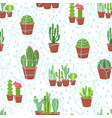 Succulents seamless background cactuses and vector image