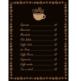 menu for a cup of coffee vector image