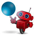 Red robot with blue ball vector