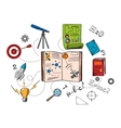 Astronomy and science colorful icons vector image