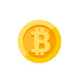 bitcoin currency symbol on gold coin flat style vector image