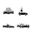 car crash simple related icons vector image