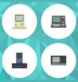 flat icon laptop set of processor vintage vector image