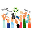 hands with trash and recycle sign vector image