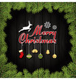 Merry Christmas Greeting Card With Ornaments vector image