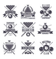 monochrome labels or logos for billiard club vector image