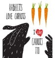 Scratchy Rabbits Love Carrots Lettering vector image