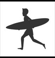 silhouette of a running surfer man with surfboard vector image vector image