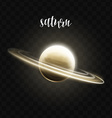 Realistic glowing Saturn planet Isolated Glow with vector image
