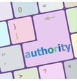 autority button on computer keyboard key vector image vector image