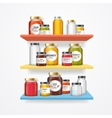 Jam Glasses on Shelf vector image