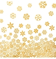 Abstract pattern of falling golden snowflakes vector image
