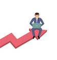 businessman with laptop sitting on graphic data vector image