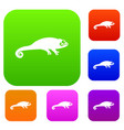 chameleon set collection vector image