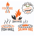 fish and seafood bbq set vector image
