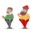 smoking pipe coffee geek hipster casual character vector image