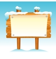 Wooden sign snow winter post icon symbol label set vector image