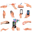 Collection of hands holding different business vector image vector image