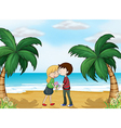 Lovers at the beach vector image