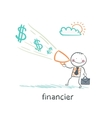 financier yells into a megaphone about the money vector image vector image