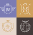 linear heraldry symbols and design elements vector image