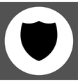 Shield flat black and white colors round button vector image