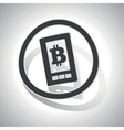 Bitcoin screen sign sticker curved vector image