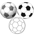Soccer Ball Color Flat And Ink Pack vector image