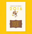 happy new year card design with cute monkey vector image vector image