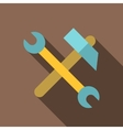 Hammer and wrench icon flat style vector image