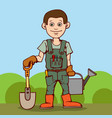 happy gardener standing with his garden tool vector image