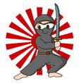 ninja rising sun background vector image