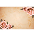 Pink roses on a vintage old paper background vector image