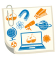 Science symbols on white paper vector image
