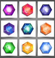 set of icons with crystals vector image